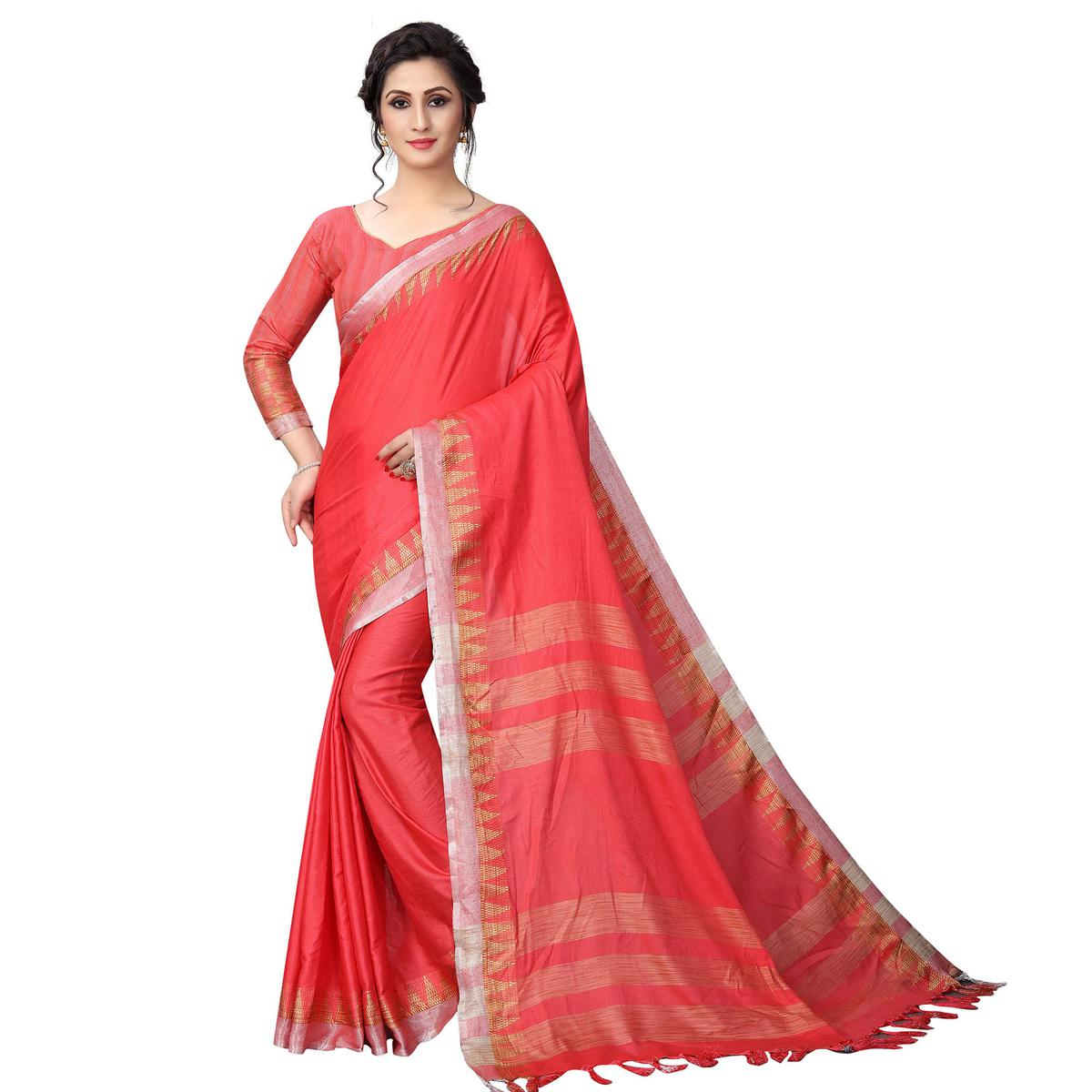 Glowing Coral Red Colored Casual Wear Cotton Linen Saree