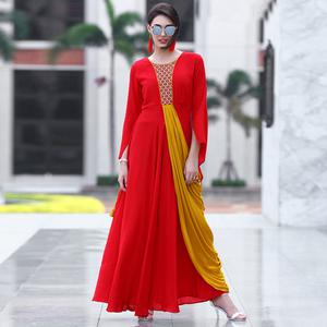 Classy Red Colored Partywear embroidered Rayon Long Kurti
