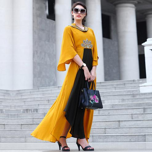 Attractive Yellow Colored Partywear embroidered Rayon Long Kurti