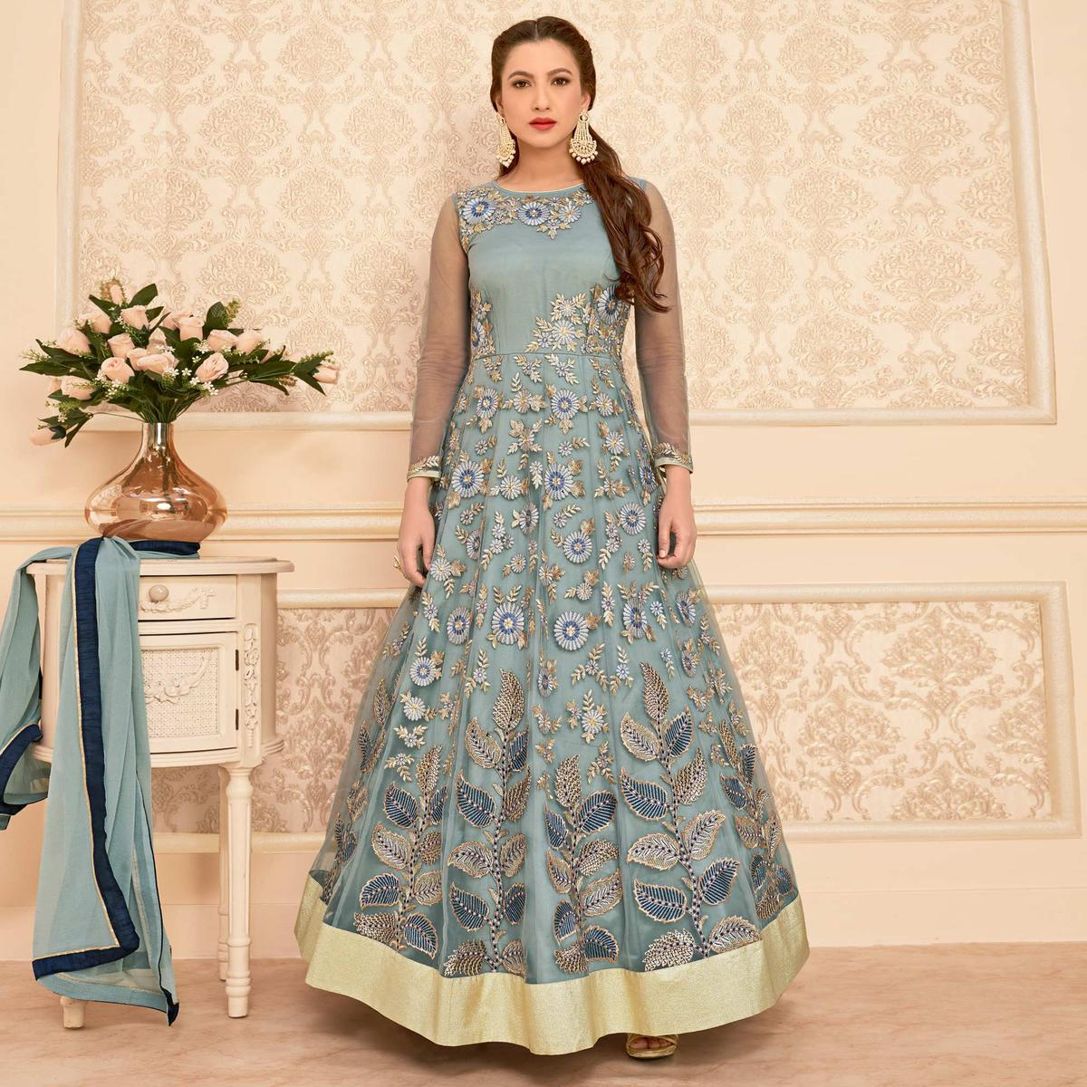 Appealing Grey Colored Party Wear Embroidered Net Anarkali Suit