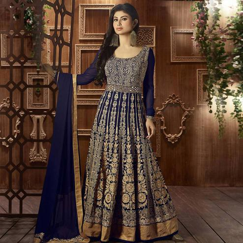 Adorning Navy Blue Colored Party Embroidered Georgette Anarkali Suit