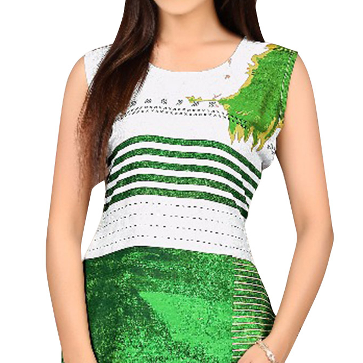 Adorning Green - Red Colored Digital Printed Kurti