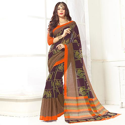 Trendy Maroon Printed Cotton Blend Saree