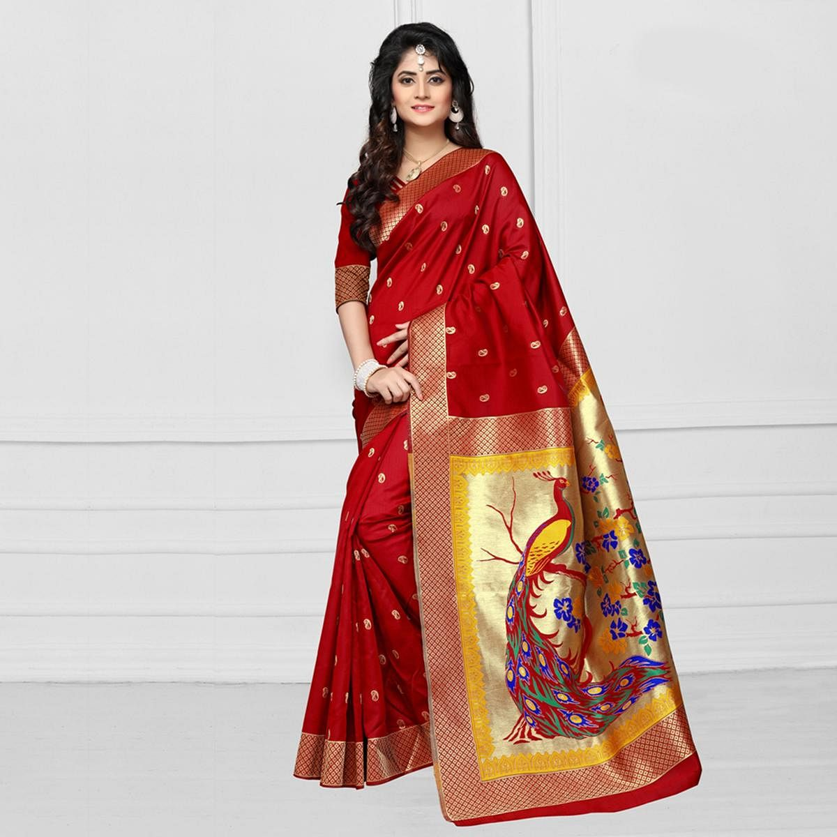 Stunning Red Colored Festive Wear Printed Art Silk Saree