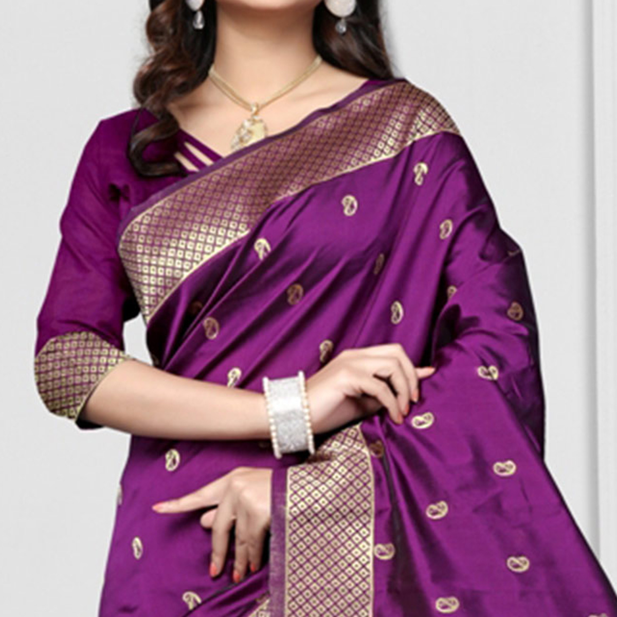 Blooming Purple Colored Festive Wear Printed Art Silk Saree