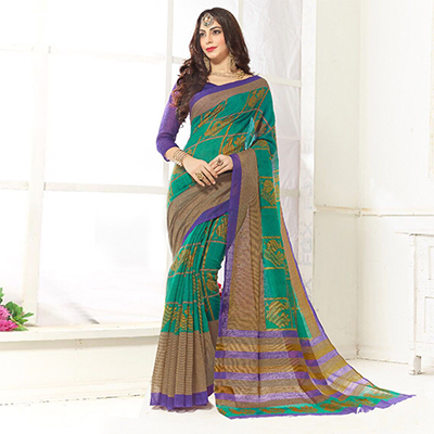 Trendy Green Printed Cotton Blend Saree