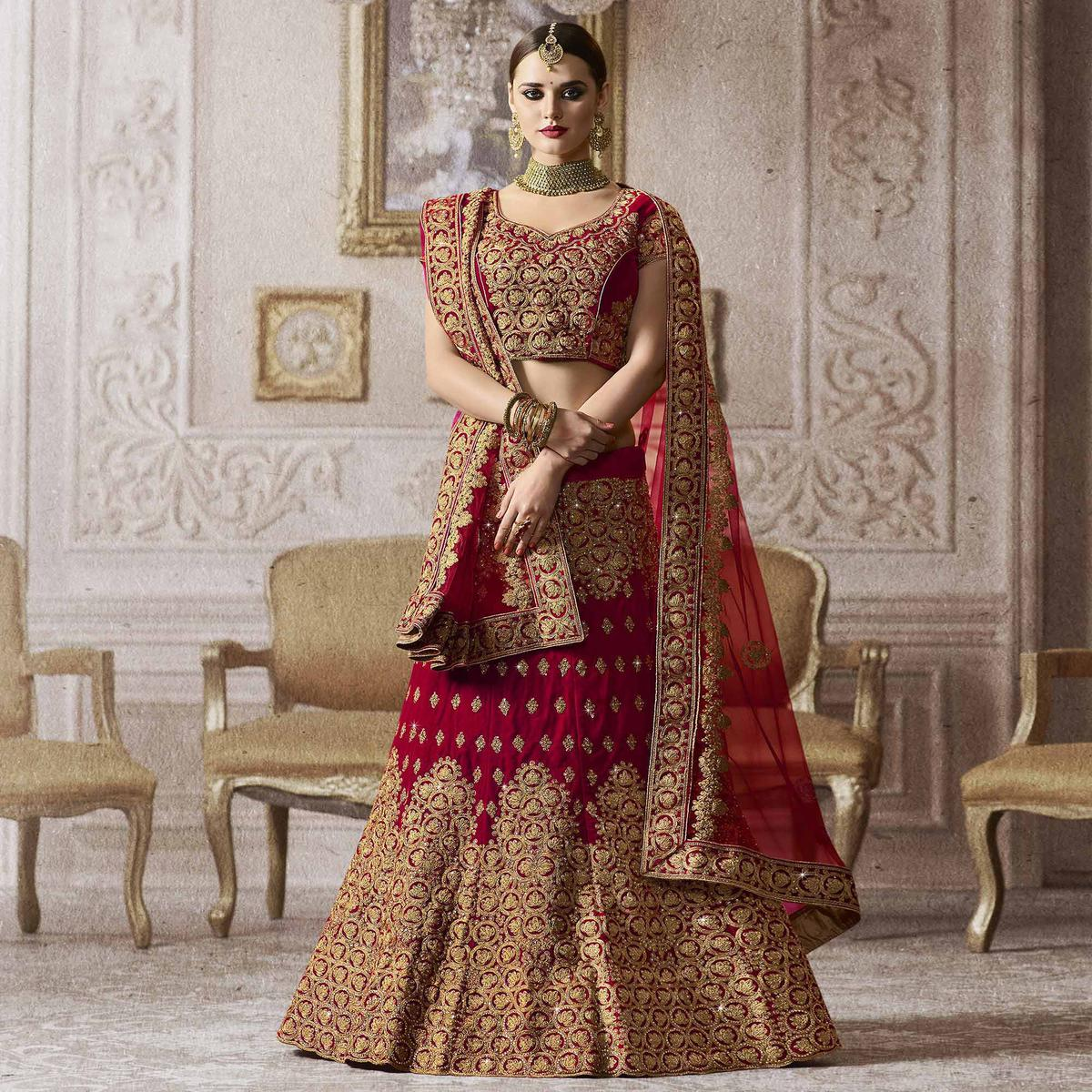 Mesmerizing Red Colored Wedding Wear Embroidered Velvet Lehenga Choli