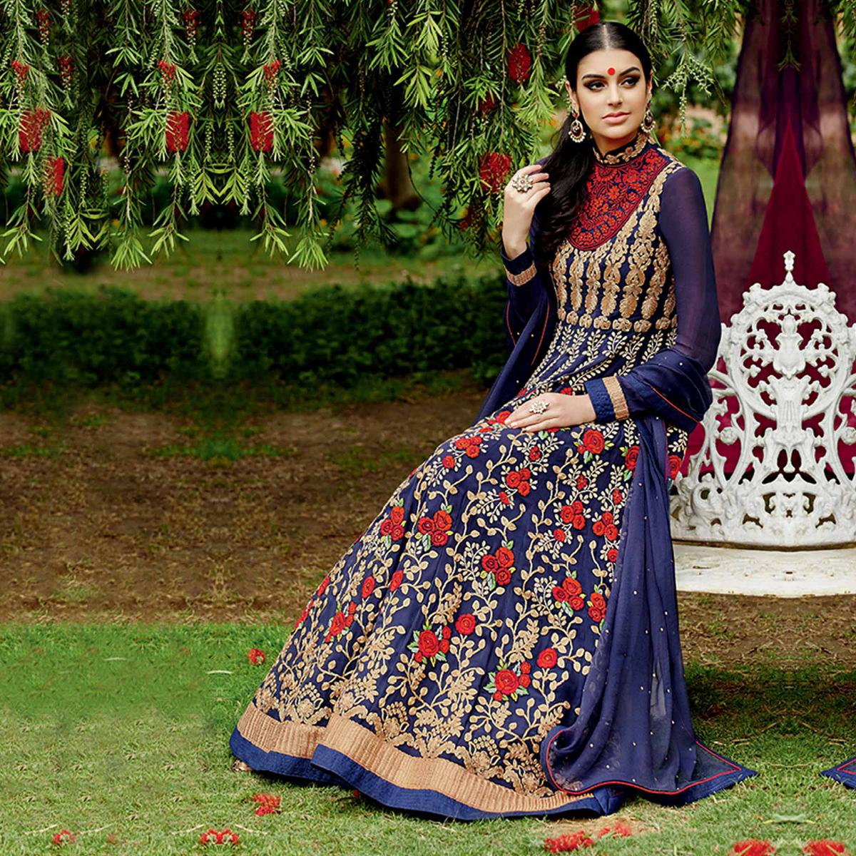 Glowing Navy Blue Colored Party Wear Pure Georgette Anarkali Suit