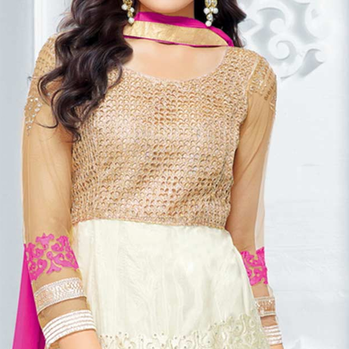 Trendy Cream - Beige Colored Party Wear Embroidered Soft Net Lehenga / Anarkali Suit