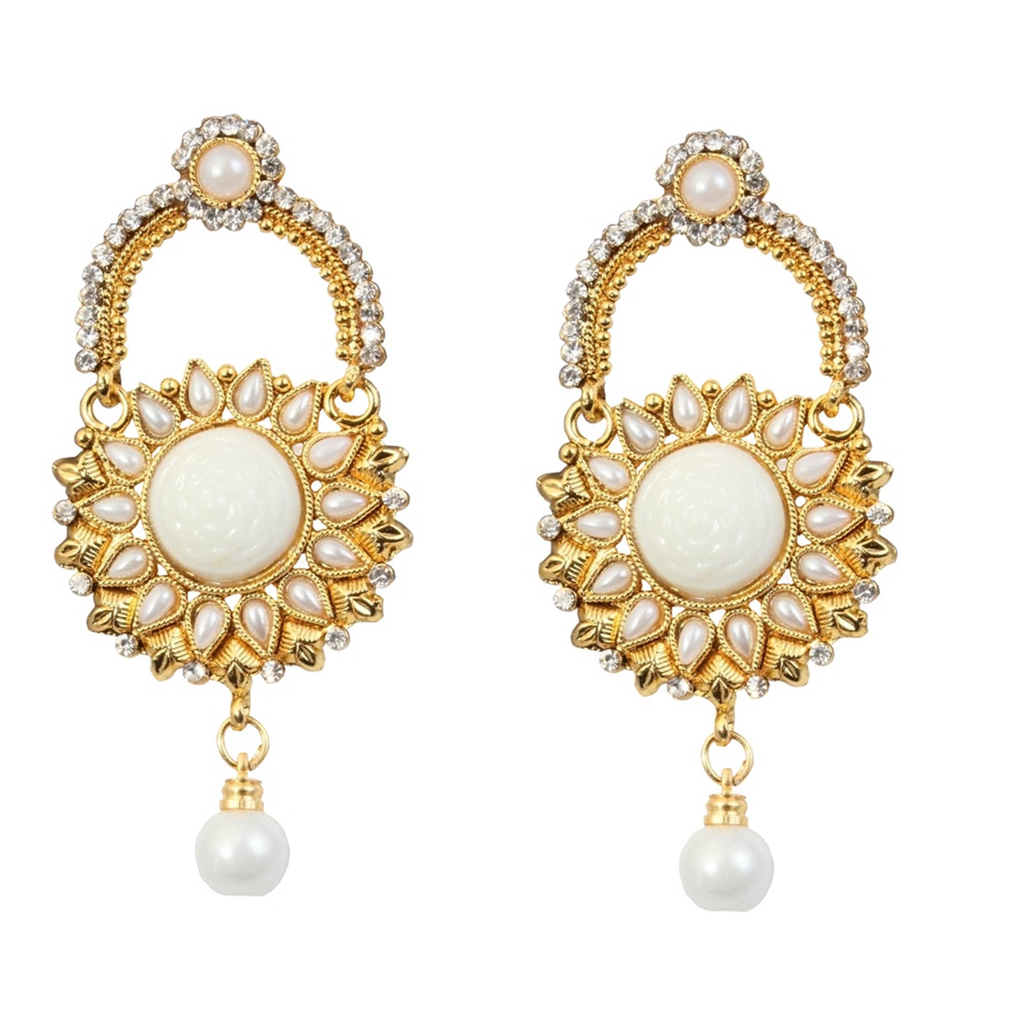 Adorable Kundan Austrian Stone Pearl Gold Finish Dangle Earrings