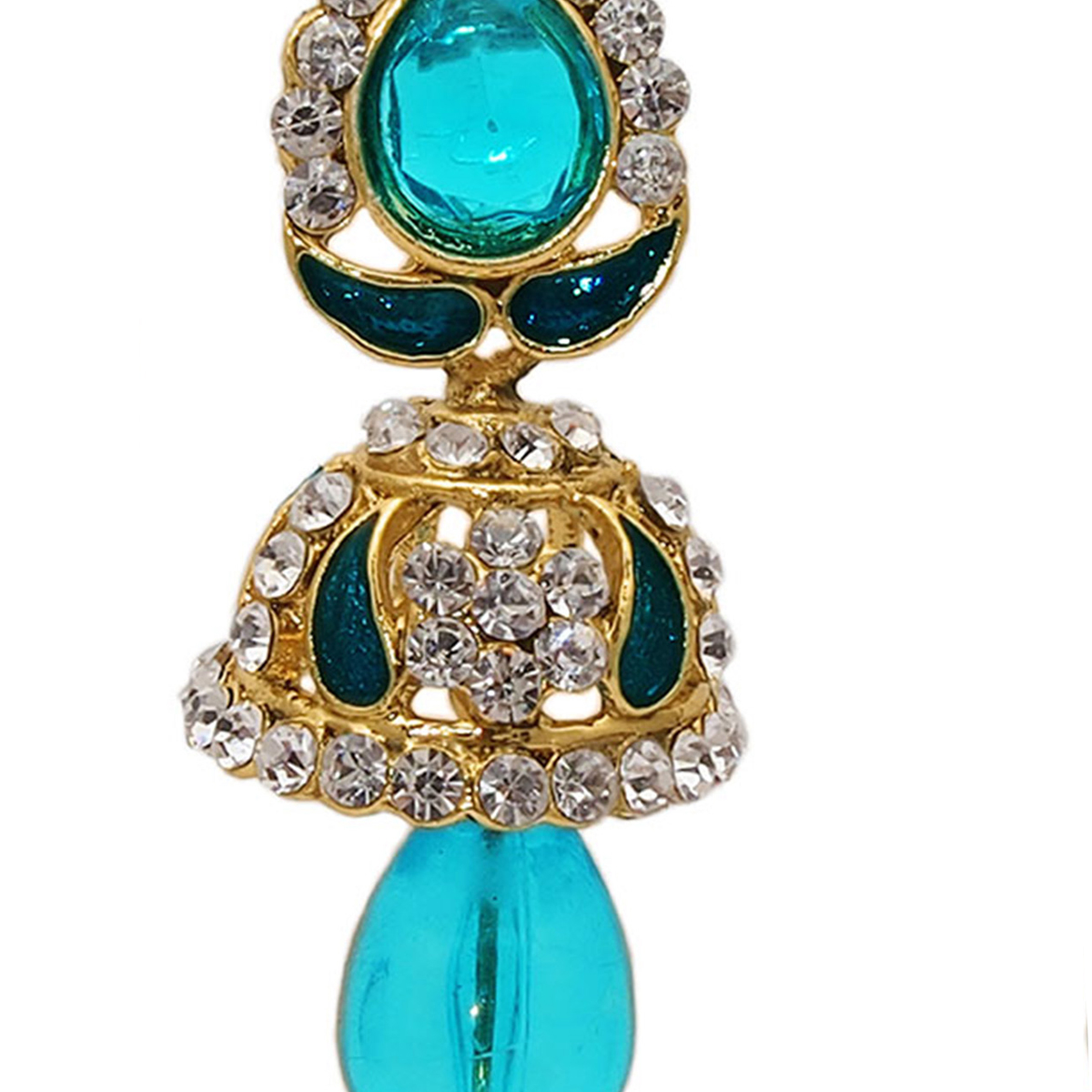 Intricate Austrian Stone Blue Meenakari Drop Earrings