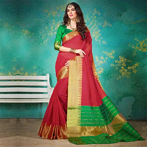 Classy Red Cotton Silk Jacquard Woven Saree