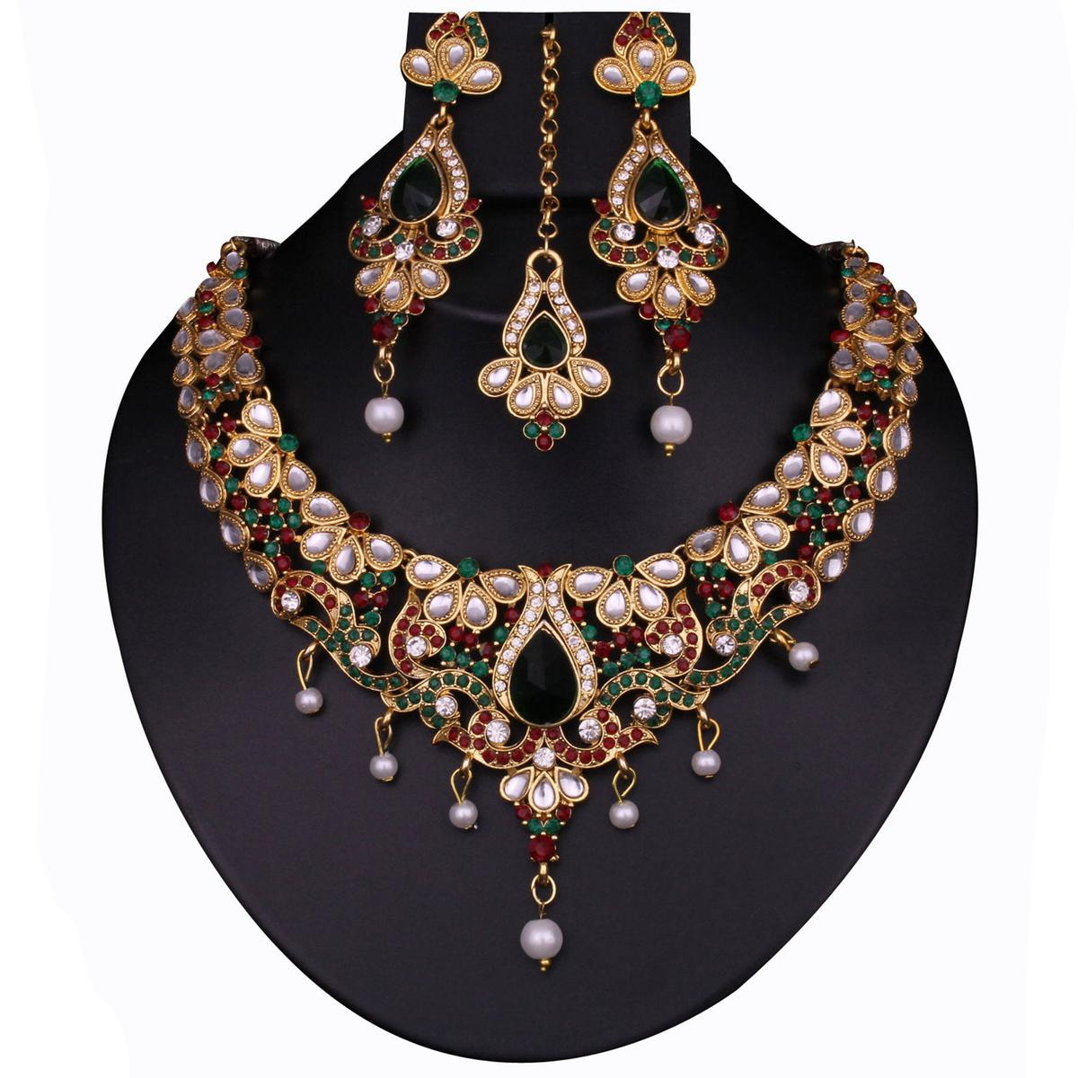 Gleaming Multi Colored Alloy & Stone Work Necklace Set