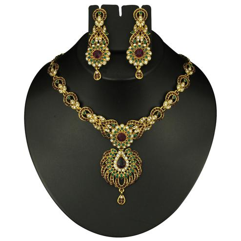 Trendy Maroon & Green Austrian Stone Gold Finish Necklace Sets