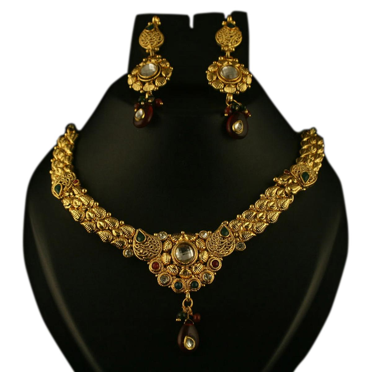 Dazzling Red & Green Pota Stone Gold Finish Necklace Sets