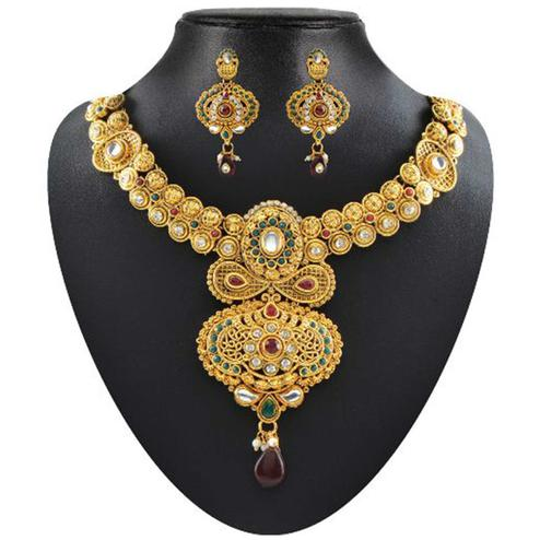 Breathtaking Red & Green Pota & Austrian Stone Necklace Sets