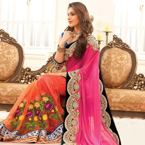 Starring Orange - Pink Colored Party Wear Embroidered Net Saree