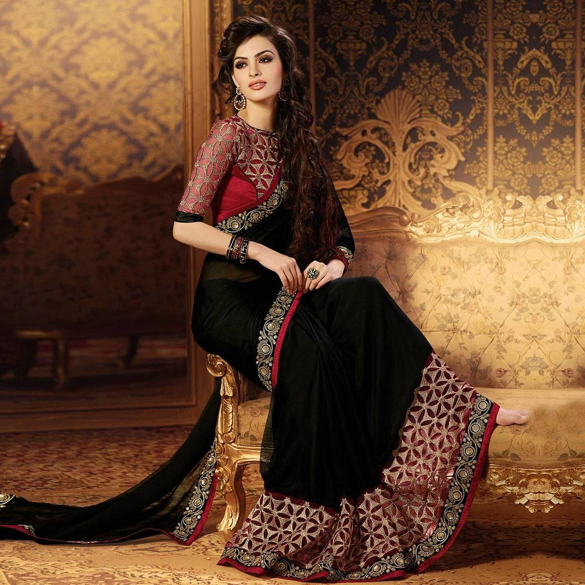 8baf144474 Buy Classy Black Colored Party Wear Embroidered Georgette Saree online  India, Best Prices, Reviews - Peachmode