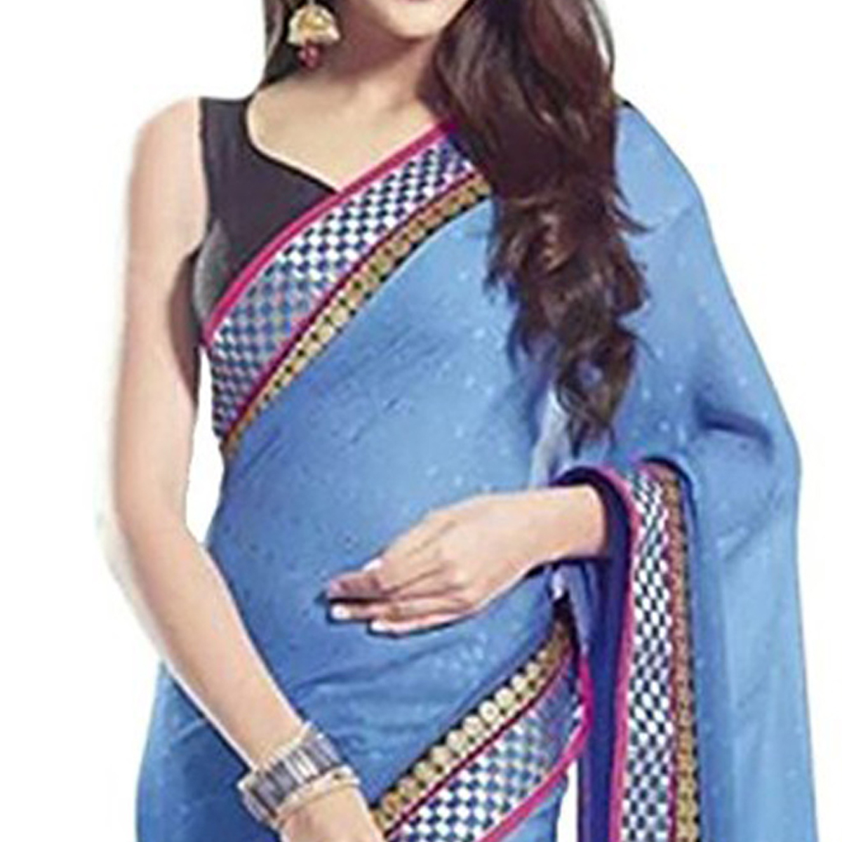 Glorious Cream - Sky Blue Colored Party Wear Embroidered Georgette Saree