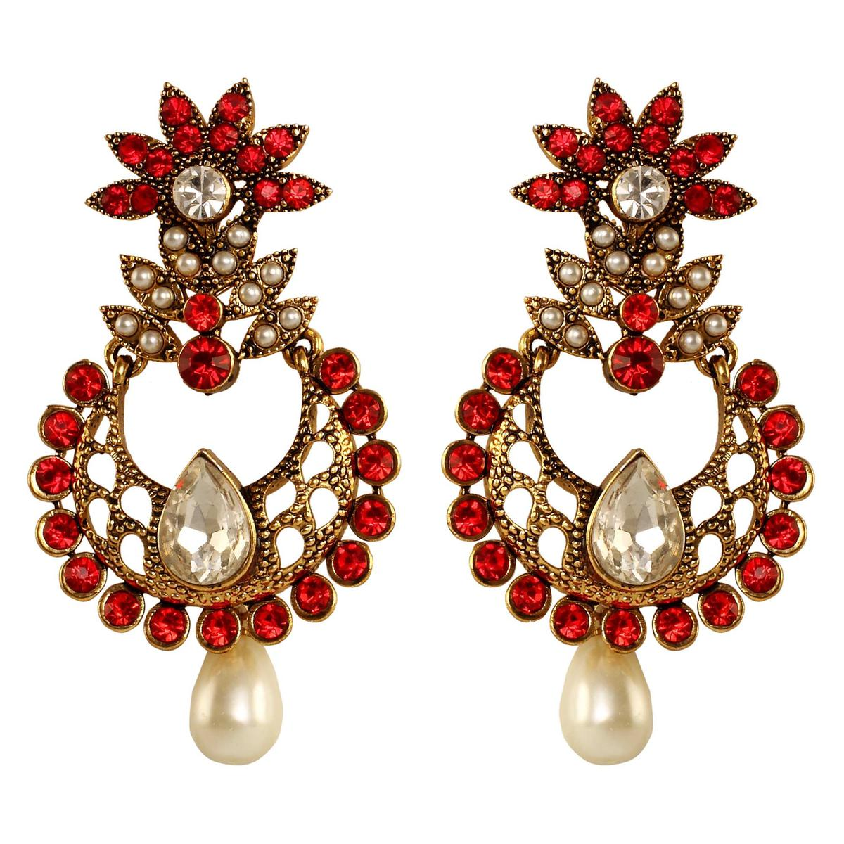 Marvellous Red Color Stone Work Alloy Earrings