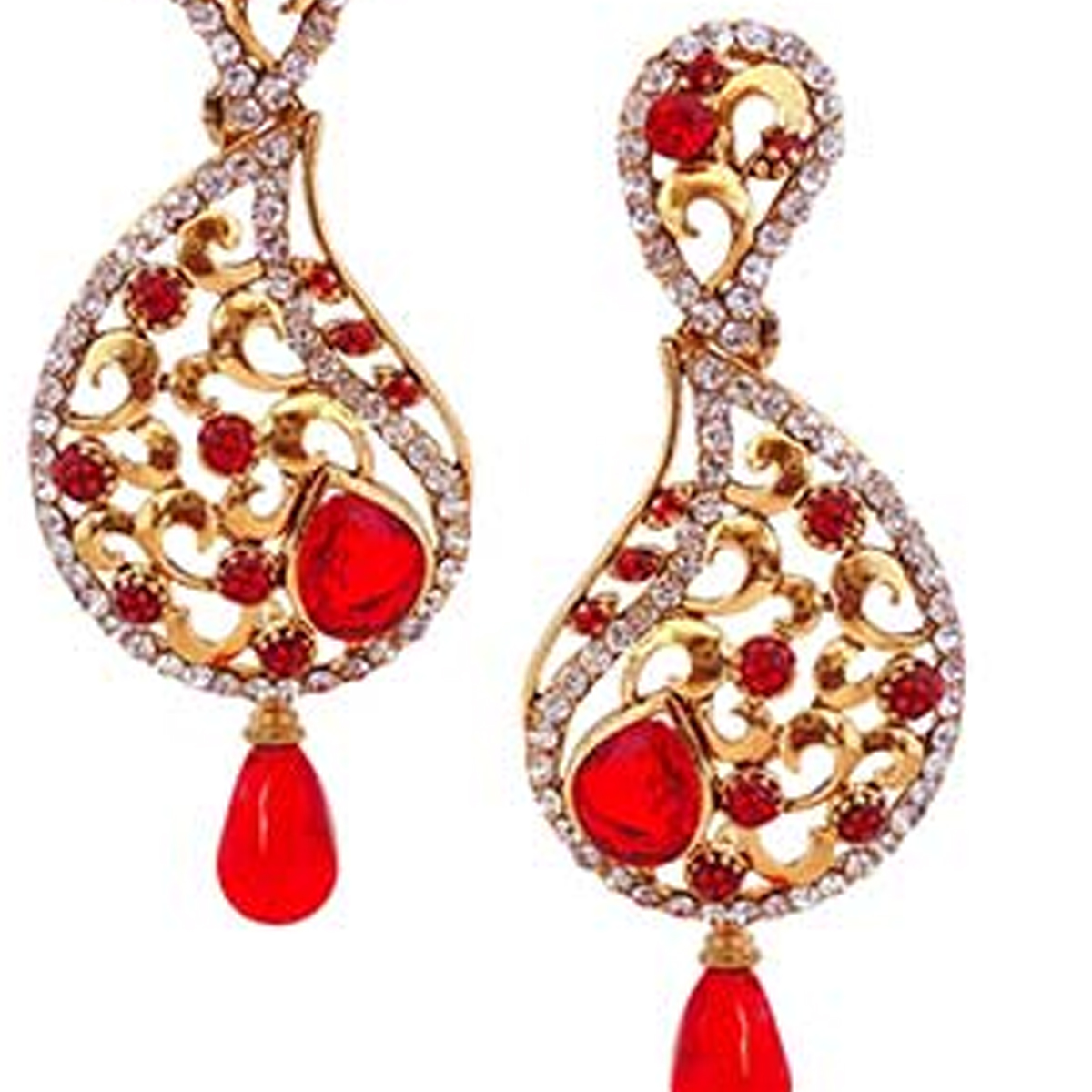 Eye-catching Red Colored Stone Work Alloy Earrings