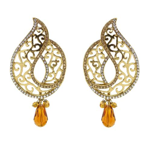 Amazing Yellow & Golden Colored Alloy Stone Work Earrings