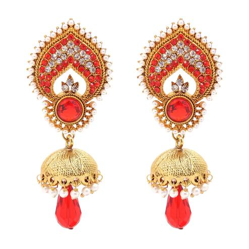 Lovely Red Colored Alloy And Stone Work Earrings