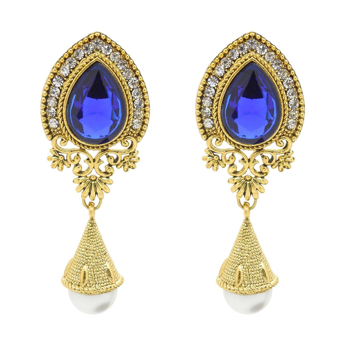 Radiant Blue & Golden Colored Alloy With Stone Work Earrings