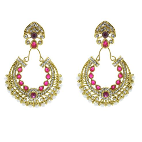 Demanding Pink & Gold Colored Alloy With Stone Work Earrings