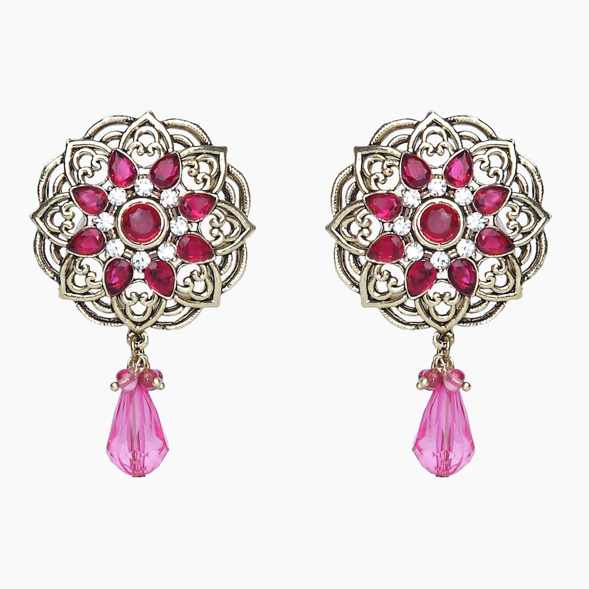 Dazzling Pink Colored Stone Work & Alloy Earrings