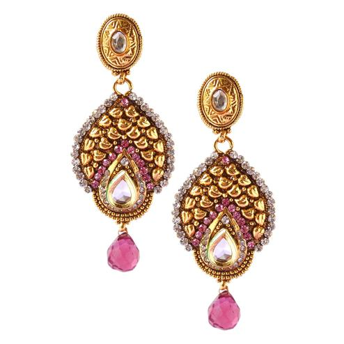 Pleasant Golden & Pink Colored Stone Work & Alloy Earrings