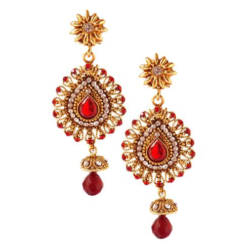 Adorning Maroon Colored Stone Work Alloy Earrings