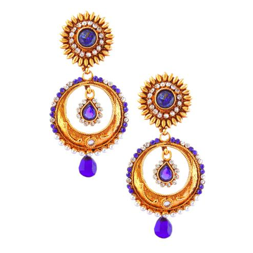 Glowing Royal Blue Colored Stone Work Alloy Earrings