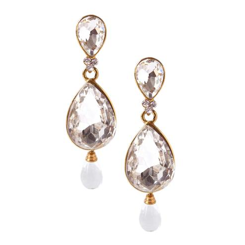Prominent White Colored Stone Work Alloy Earrings