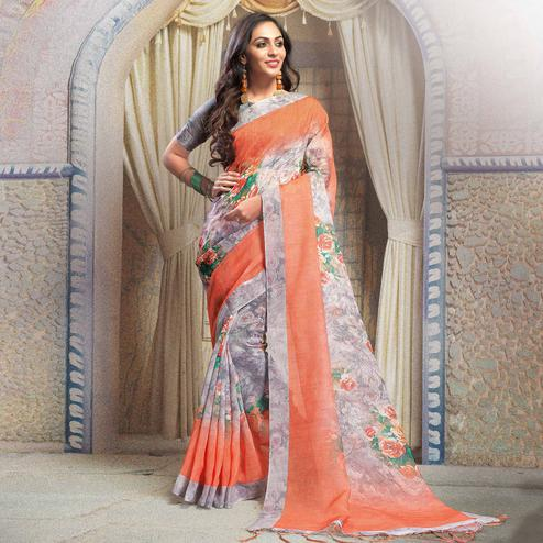 Elegant Gray-Orange Colored Casual Printed Linen Saree
