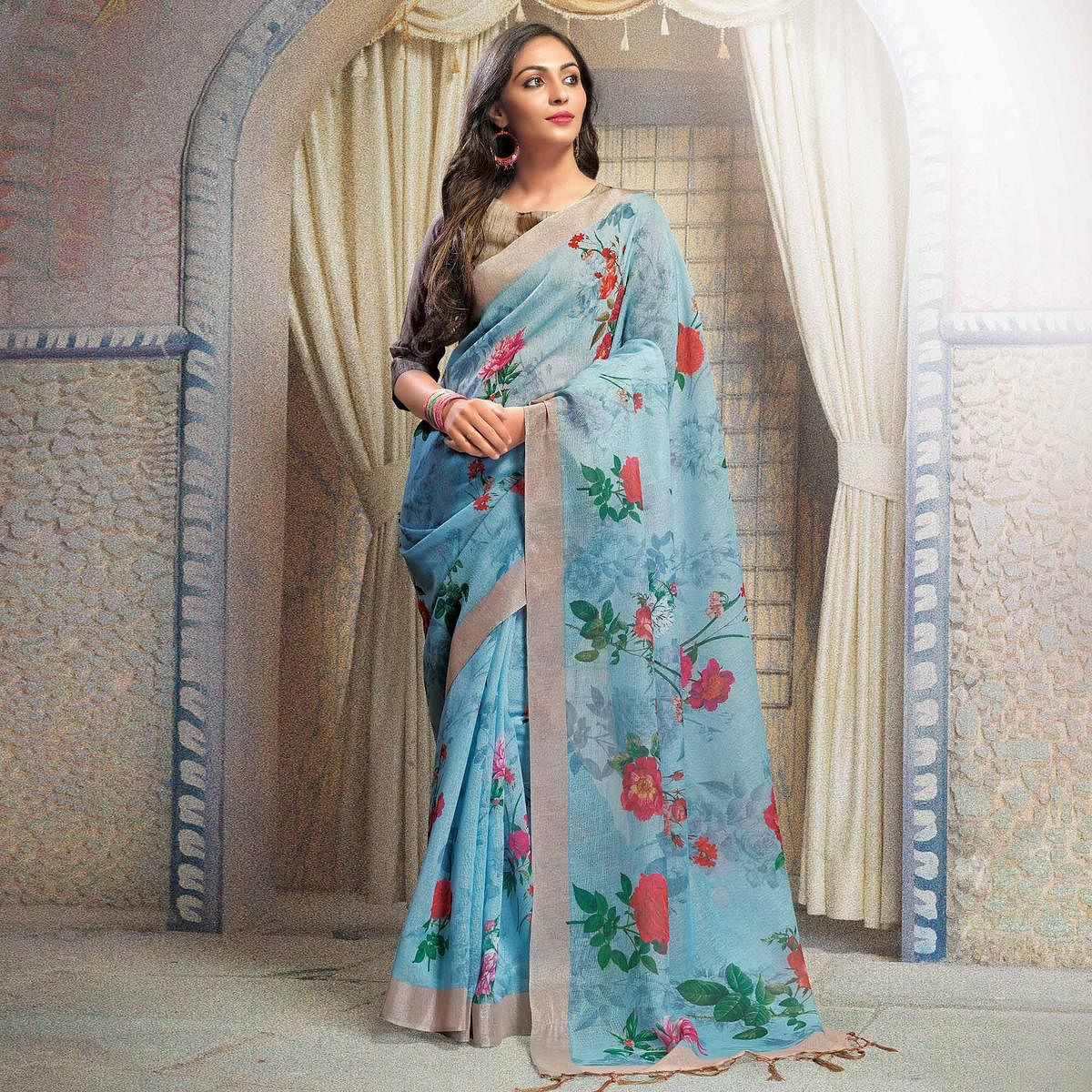 Refreshing Sky Blue Colored Casual Printed Linen Saree