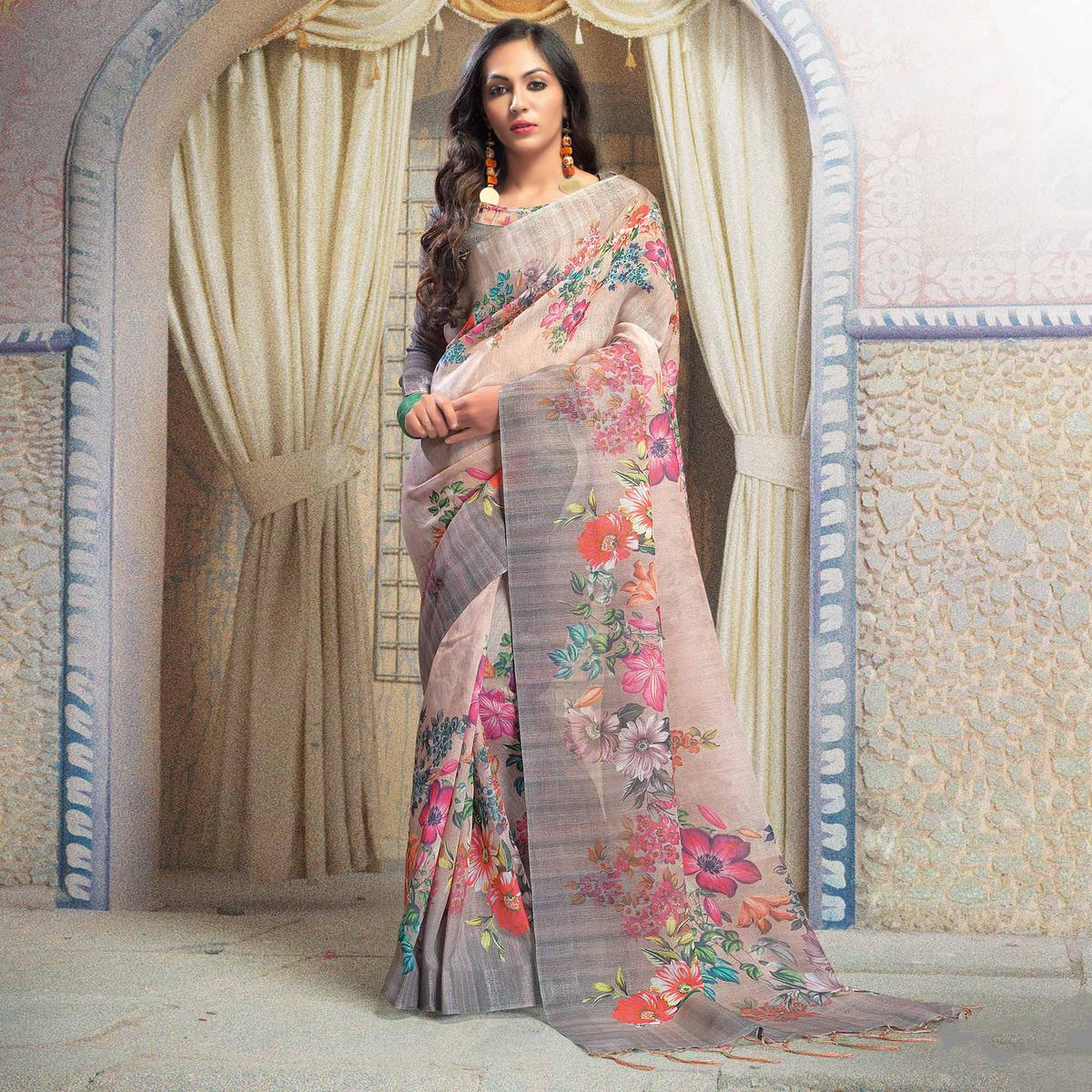 Appealing Beige Colored Casual Printed Linen Saree