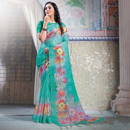 Pleasant Aqua Green Colored Casual Printed Linen Saree
