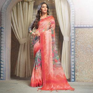 Glowing Red Colored Casual Printed Linen Saree