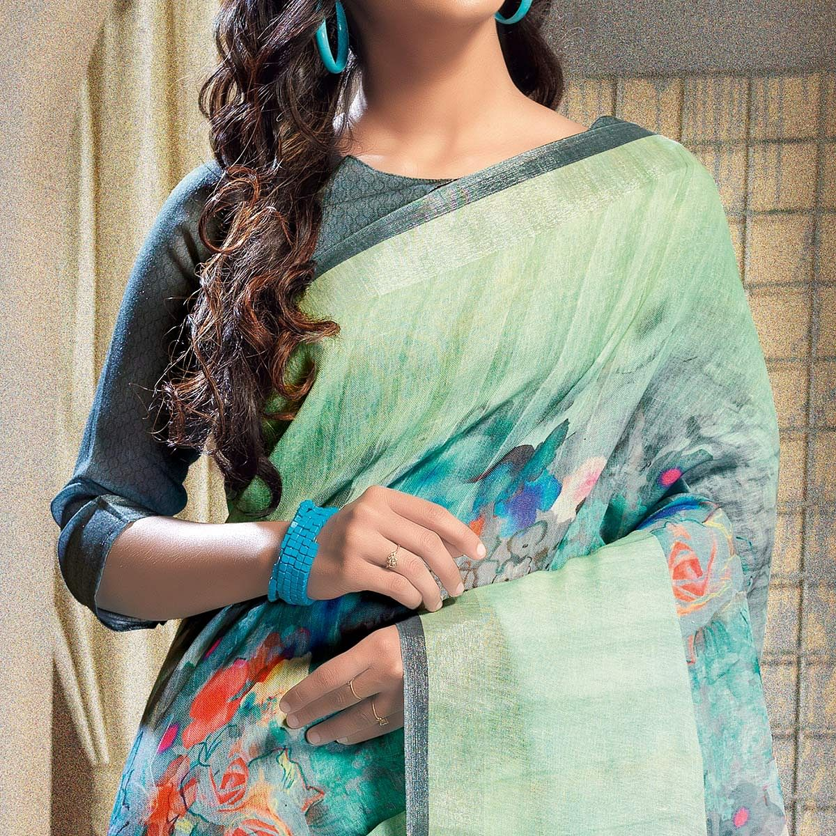 Beautiful Blue-Green Colored Casual Printed Linen Saree