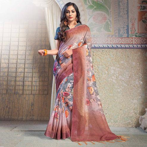 Gleaming Gray Colored Casual Printed Linen Saree