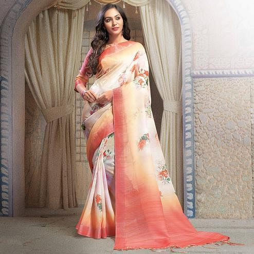 Lovely White Colored Casual Printed Linen Saree
