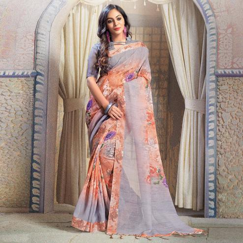 Trendy Orange-Gray Colored Casual Printed Linen Saree