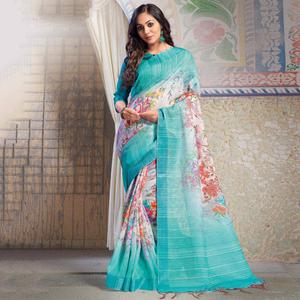 Demanding Blue-White Colored Casual Printed Linen Saree