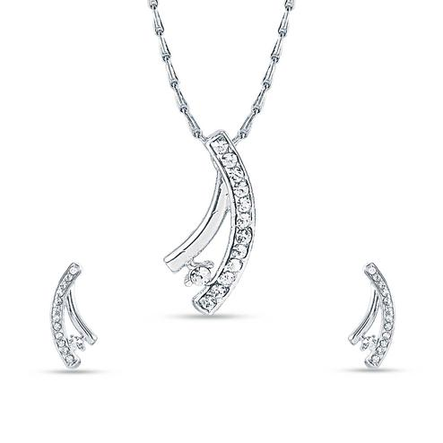 Staring Rhodium plated stone pendant set with chain