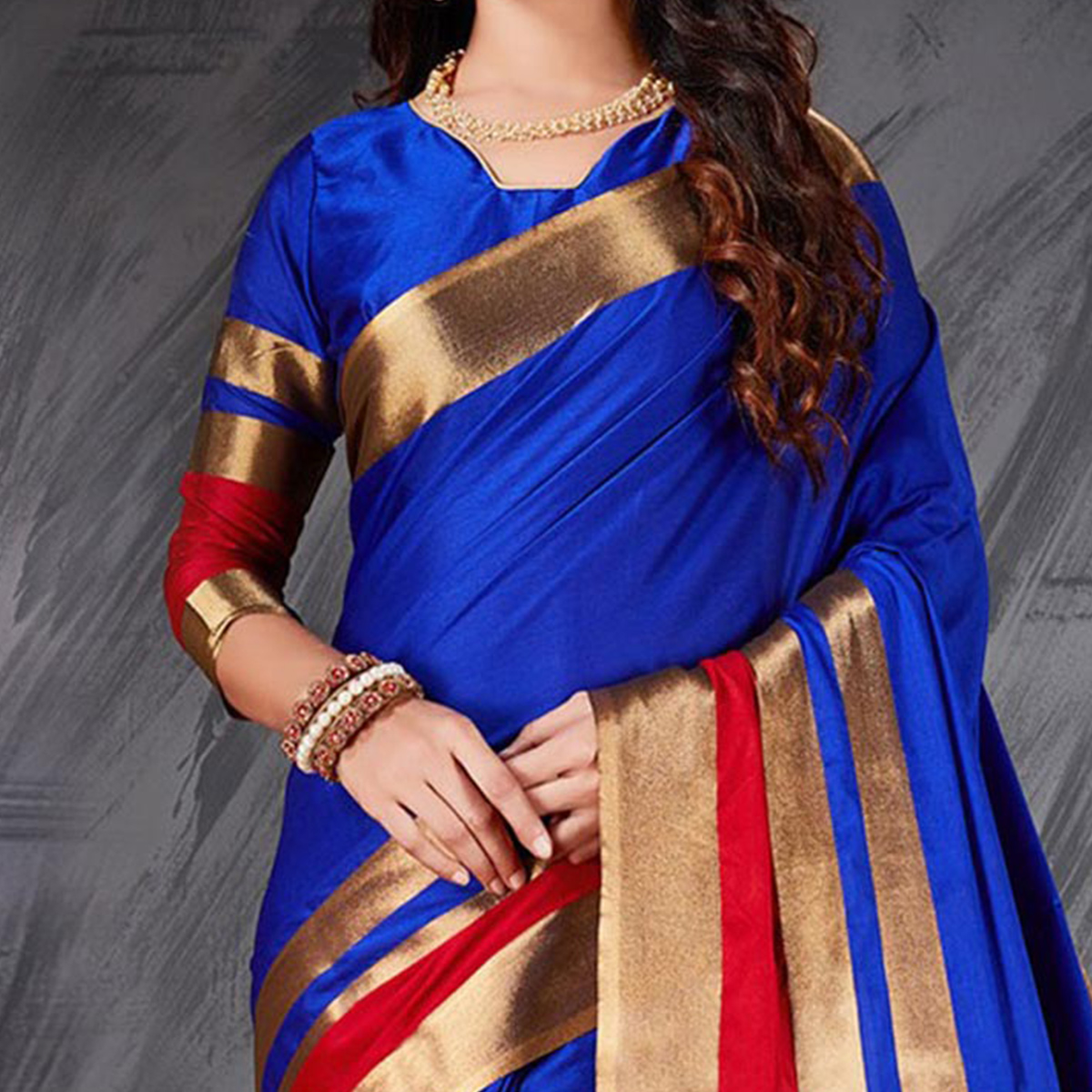 Charming blue Designer Cotton Silk Jacquard Saree