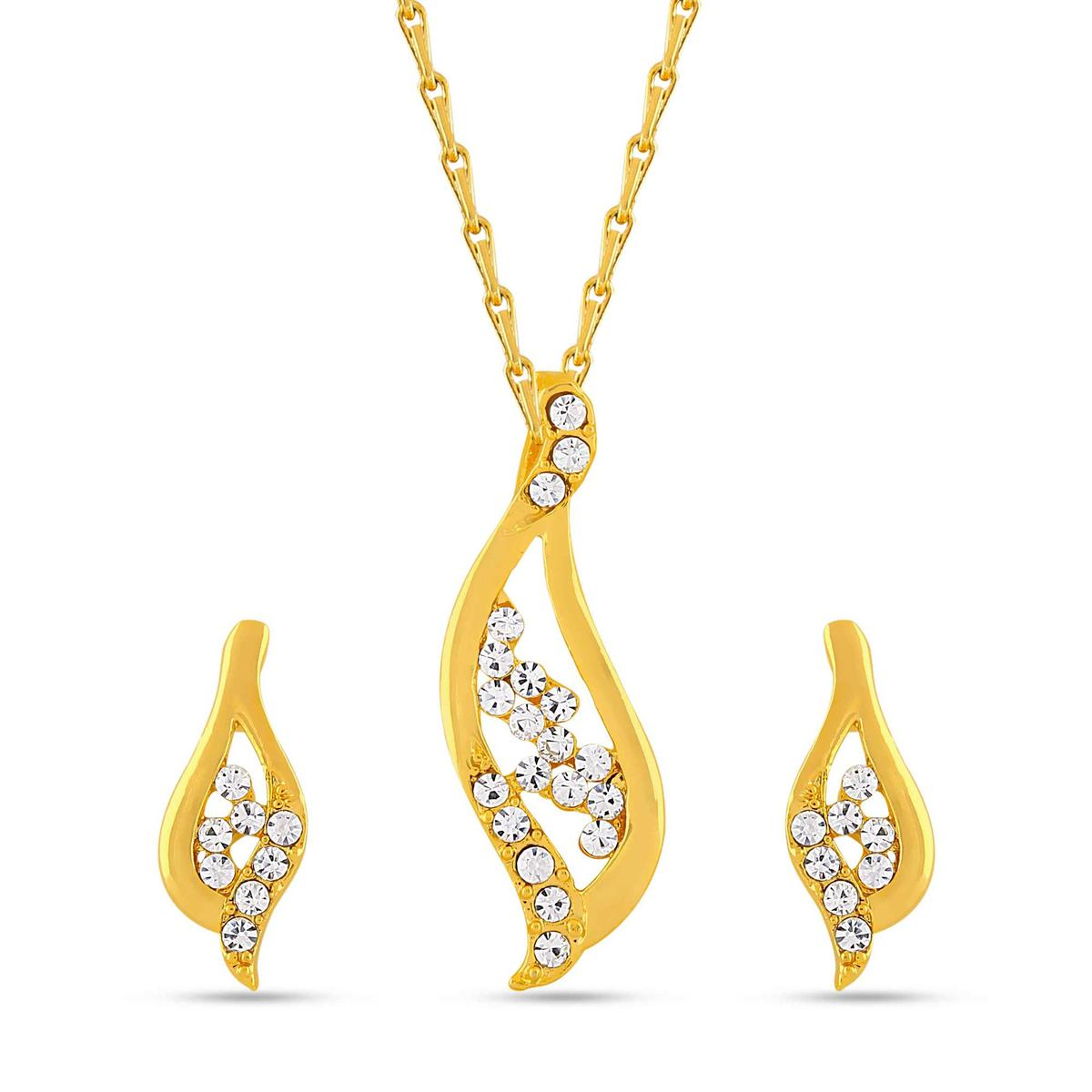 Blooming Gold plated stone studded pendant set with chain