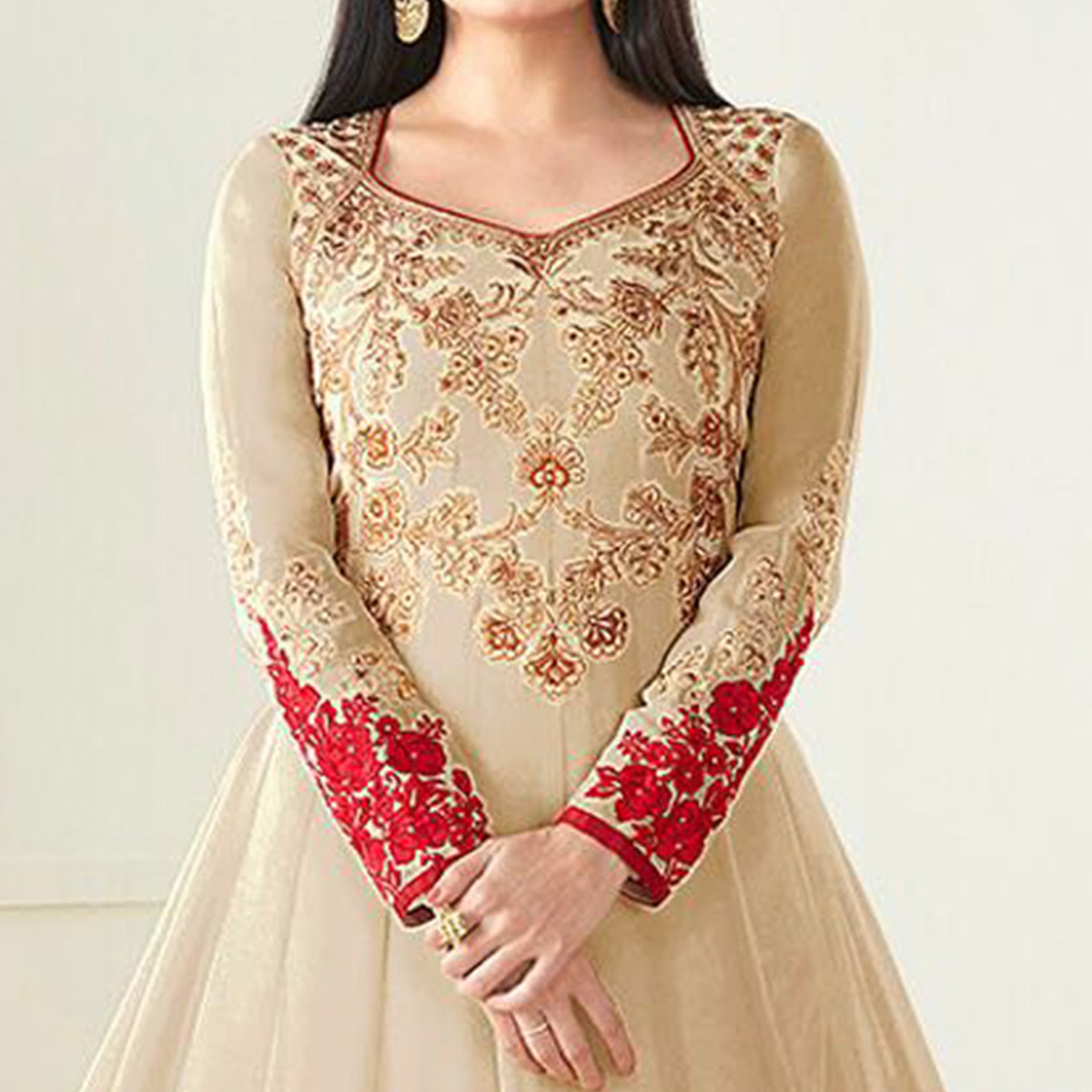 Amazing Beige Colored Party Wear Embroidered Georgette Anarkali Suit