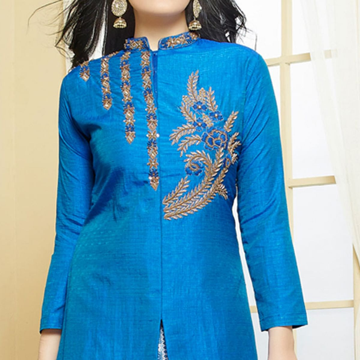 Ethnic Blue Colored Party Wear Embroidered Banglori Silk Lehenga Kameez