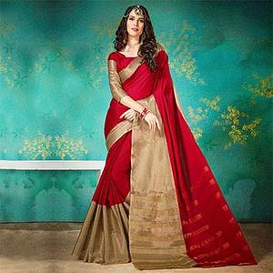 Elegant Red Cotton Silk Jacquard Woven Saree